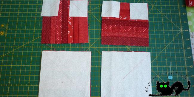 Dibujamos las diagonales en la tela de fondo y los colocamos derecho con derecho sobre los cuadrados
